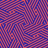 Vector red and blue geometric seamless pattern with diagonal stripes, lines royalty free illustration