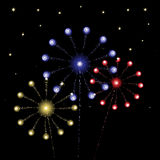 Vector red, blue, gold fireworks. On star sky Stock Illustration