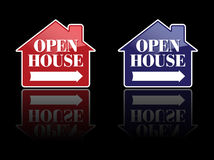Vector Red and Blue Open House Signs. Or Buttons vector illustration