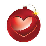 Vector Red Bomb with hearth. Vector Red love Bomb with hearth Stock Images