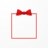 Vector red bow and frame. Isolated on white background Royalty Free Stock Photography