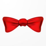 Vector red bow tie, realistic design. Isolated on white background Stock Images