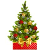 Vector Red Box with Christmas Tree. Isolated on white background Royalty Free Stock Images