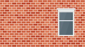 Vector red brick wall background. Old texture urban masonry. Vintage architecture block wallpaper and window. Retro facade room stock illustration