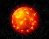 Vector red burning star before explosion on cosmic background Stock Image