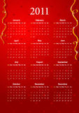 Vector red calendar 2011. American red calendar 2011, starting from Sundays Royalty Free Illustration