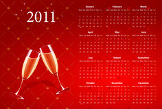 Vector red calendar 2011 with champagne. Vector European red calendar 2011 with champagne, starting from Mondays Royalty Free Stock Images