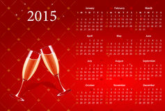Vector red calendar 2015 with champagne Stock Photos