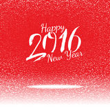 Vector red card with New year greetings and snow Stock Photos