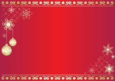 Vector red card with snowflakes and balls Royalty Free Stock Images