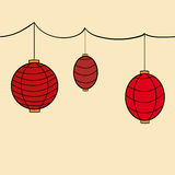 Vector red carnival chinese hanging lanterns Royalty Free Stock Images