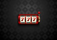 Vector red casino slot machine with lucky seven. Dark silk geometric card suits background. Online casino web banner. Logo or icon. Winner casino poster vector illustration