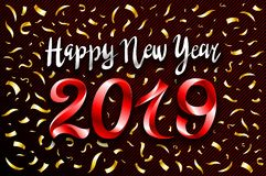 Vector red 2019 change represents the happy new year three-dimensional rendering, 3D illustration gold cofetti art. Vector red 2019 change represents the happy stock illustration