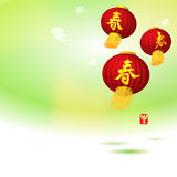 Vector: red chinese lanterns. Vector: plum blossom floral background with red chinese lanterns, happy new Year and Chinese New Year decorative elements Royalty Free Stock Images