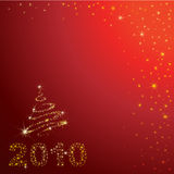 Vector red Christmas background with 2010. Vector red shining Christmas background with 2010 and Christmas tree from stars on the sky (from my Christmas stock illustration