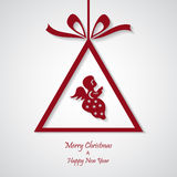Vector red christmas background with angel. cut paper design. stock illustration