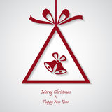 Vector red christmas background with bell. cut paper design. Royalty Free Stock Images