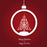 Vector red christmas background. cut paper design. Stock Photos