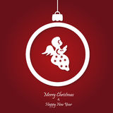 Vector red christmas background. cut paper design. Royalty Free Stock Photo