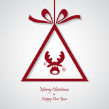 Vector red christmas background with reindeer. cut paper design. Royalty Free Stock Photos
