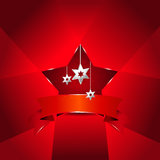 Vector red Christmas background with stars Stock Image