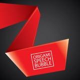Vector red christmas origami speech bubble banner Stock Photos