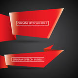 Vector red christmas origami speech bubble banner Stock Photo