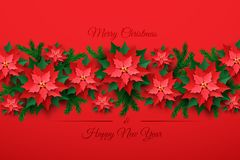 Free Vector Red Christmas Poinsettia Flower Stock Photography - 129813992
