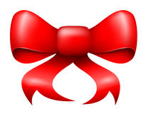 Vector red christmas ribbon bow. With light shadow Stock Images