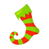 Vector of red Christmas stocking isolated on white. Cartoon style. Cute funny icon. illustration. Royalty Free Stock Images