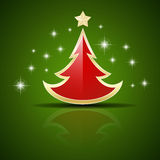 Vector red Christmas tree Royalty Free Stock Image