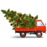 Vector Red Christmas Truck Stock Photography