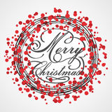 Vector Red Christmas wreath. Greeting card. Stock Merry Christmas background. Royalty Free Stock Photo