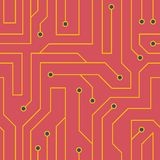 Vector red circuit board background Stock Photo