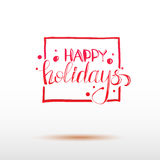Vector red colored holidays greetings calligraphy Royalty Free Stock Photos