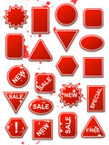 Vector red commerce stickers. Vector red stickers, blank and commerce theme Stock Image