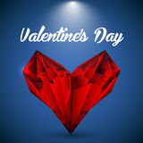 Vector red crystalline heart. Stock Photo