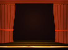 Vector red curtains in theater or opera. Dark red curtain scene Stock Photo
