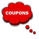 Vector  of Red 3D Speech Bubble Text COUPONS. EPS8 . Vector Illustration  of Red 3D Speech Bubble Text COUPONS. EPS8 Stock Photo