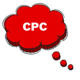 Vector  of Red 3D Speech Bubble Text CPC. EPS8 . Royalty Free Stock Photography