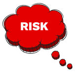 Vector  of Red 3D Speech Bubble Text RISK. EPS8 . Stock Photography