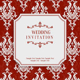 Vector Red 3d Vintage Invitation Card with Floral Damask Pattern Stock Photos