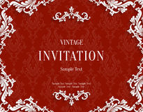 Vector Red 3d Vintage Invitation Card with Floral Damask Pattern. Vector Red Vintage Background with 3d Floral Damask Pattern Template for Greeting or Invitation Stock Photos