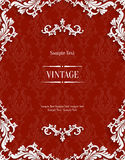 Vector Red 3d Vintage Invitation Card with Floral Damask Pattern Royalty Free Stock Photography