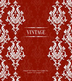 Vector Red 3d Vintage Invitation Card with Floral Damask Pattern Royalty Free Stock Image
