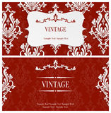 Vector Red 3d Vintage Invitation Template with Floral Damask Pattern. Vector Red Vintage Background with 3d Floral Damask Pattern Template for Greeting or Royalty Free Stock Photo