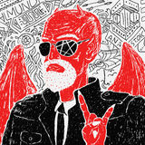 Vector Red Devil Biker in Jacket Royalty Free Stock Photo