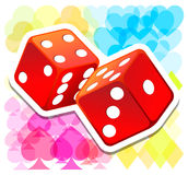 Vector red dices. With colored background Royalty Free Illustration