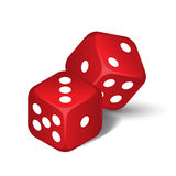 Vector red dices. Isolated on the white background Royalty Free Stock Photography