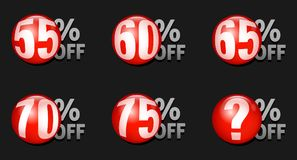 Vector red discount ball isolated on black background. Red discount ball set 55% off to 75% off Vector Illustration